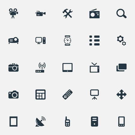 Vector Illustration Set Of Simple Gadget Icons. Elements Schedule, Show, Clock And Other Synonyms Cpu, Settings And Search.