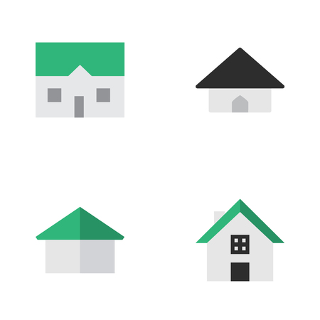 Vector Illustration Set Of Simple Estate Icons. Elements Architecture, Base, Home And Other Synonyms House, Building And Home. Illustration