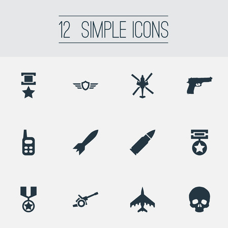 Vector Illustration Set Of Simple Battle Icons. Elements Medal, Award, War-Plane And Other Synonyms Orden, War-Plane And Rocket.
