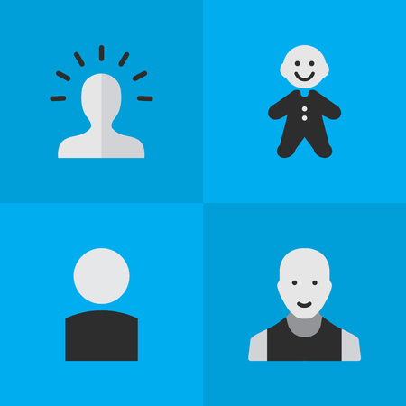 Vector Illustration Set Of Simple Avatar Icons. Elements Contour, Man, Avatar And Other Synonyms Guy, Shape And Contour.