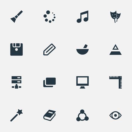 벡터 일러스트 레이 션 간단한 아이콘 아이콘의 세트입니다. 요소 백과 사전, 디스켓, 식사 및 기타 동의어 백과 사전, 데이터 및 기하학.