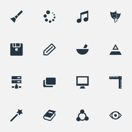 Vector Illustration Set Of Simple Icon Icons. Elements Encyclopedia, Diskette, Meal And Other Synonyms Encyclopedia, Data And Geometry.