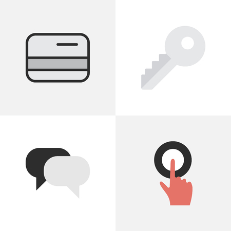 Vector Illustration Set Of Simple Business Icons. Elements Pay, Talking, Opening And Other Synonyms Meeting, Pay And Press.