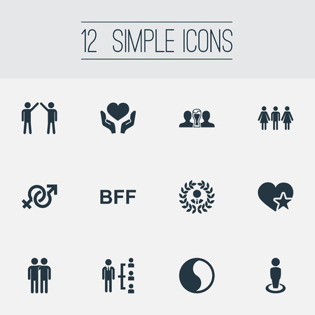 soul mate: Vector Illustration Set Of Simple Friends Icons. Elements Communication, Singleness, Colleague And Other Synonyms Buddies, Human And Star.