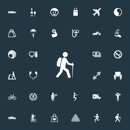 Vector Illustration Set Of Simple Yoga Icons. Elements Hairstyle, Distance Learning, Bodybuilding And Other Synonyms Yin-Yang, Salon And Travelling.
