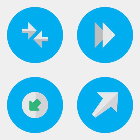 シンプルな矢印のアイコンのベクトル イラスト セット。北西、南西の要素、進むと他の類義語を楽しみにして、矢印とインポート。  イラスト・ベクター素材