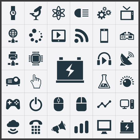 Vector Illustration Set Of Simple Gadget Icons. Elements Presentation, Player, Waiting And Other Synonyms Monitor, Accumulator And Atom.