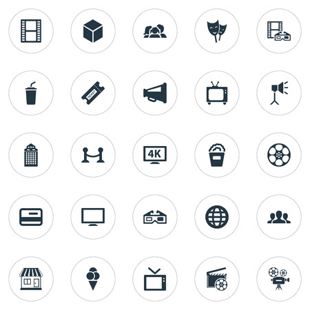 Vector Illustration Set Of Simple Film Icons. Elements 3D Glasses, Family, Screen And Other Synonyms Movie, Package And Pass. Illustration
