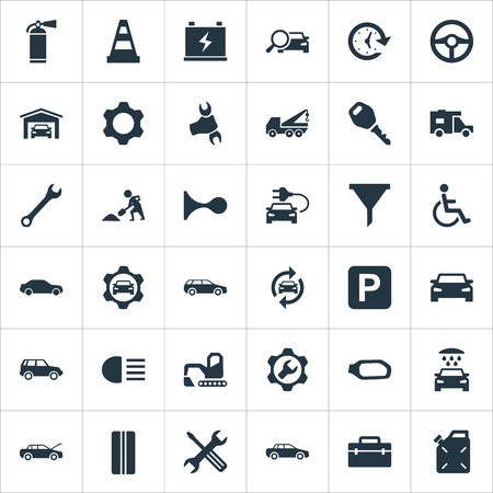 Vector Illustration Set Of Simple Vehicle Icons. Elements Filter, Electro Car, Carriage Wash And Other Synonyms Tools, Fire And Tread.