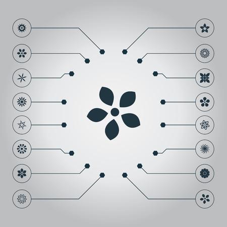 Vector illustratie Set van eenvoudige pictogrammen. Elementen Alstroemeria, Jonquil, Jasmine en andere synoniemen Bloom, Gerbera's en tulp. Stock Illustratie