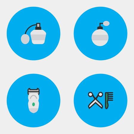 벡터 일러스트 레이 션 간단한 쇼핑 아이콘의 집합입니다. 요소 향수, 빗, 전자 및 기타 동의어 기계, 빗질 및 Slavering. 일러스트