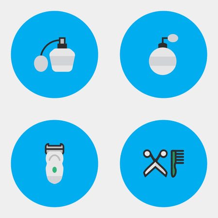 Vector Illustration Set Of Simple Shop Icons. Elements Fragrance, Comb, Electronic And Other Synonyms Machine, Comb And Slavering.