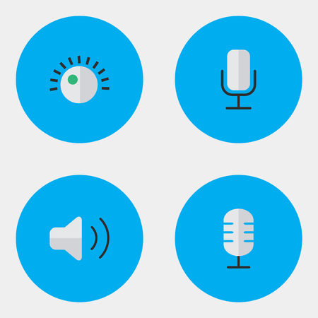 Vector Illustration Set Of Simple Sound Icons. Elements Regulator, Loudness, Microphone And Other Synonyms Volume, Microphone And Control.