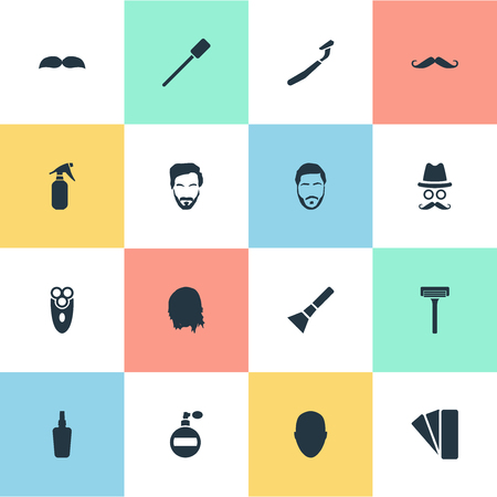 Vector Illustration Set Of Simple Barber Icons. Elements Aerosol, Cosmetic Bottle, Utencil And Other Synonyms Handle, Face And Man. Ilustrace