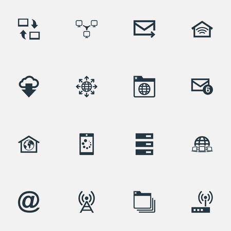 Vector Illustration Set Of Simple Web Icons. Elements Folder, Datacenter, Router And Other Synonyms Browser, Wireless And Computer. Illustration