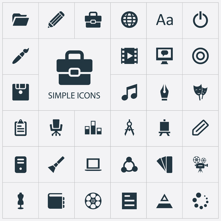 Vector Illustration Set Of Simple Icon Icons. Elements Armchair, Worldwide, Movie And Other Synonyms Floppy, Handbag And Conversation.