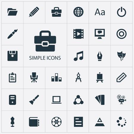 Vector illustratie Set van eenvoudige pictogram pictogrammen. Elements Armchair, Worldwide, Movie And Other Synoniemen Floppy, Handbag And Conversation.