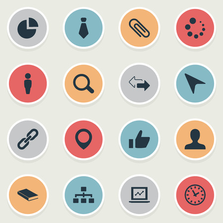 Vector Illustration Set Of Simple Conference Icons. Elements Download, Textbook, Human And Other Synonyms Chain, Textbook And Fastener. Illustration