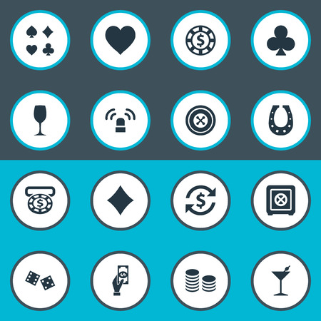 Vector Illustration Set Of Simple  Icons. Elements Bank, Card Suits, Money Flow And Other Synonyms Poker, Pay And Cross. Illustration