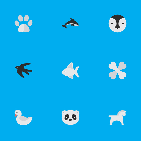 Vector Illustration Set Of Simple Animals Icons. Elements Bear, Steed, Foot And Other Synonyms Steed, Skeleton And Dolphin. Illustration