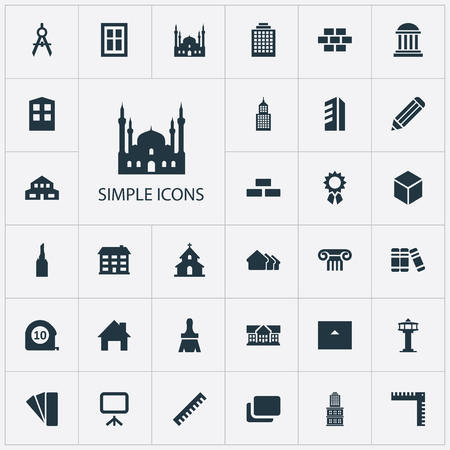 Vector Illustration Set Of Simple Architecture Icons. Elements Hostel, Building, Dispatcher Cabin And Other Synonyms Stone, Museum And Home.