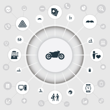 Vector Illustration Set Of Simple Fashion Icons. Elements Wristwatch, Baggage, Powerlifting And Other Synonyms Billiards, Mustaches And Champagne. Ilustração