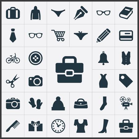 벡터 일러스트 레이 션 간단한 장비 아이콘의 집합입니다. 요소가 위, 교과서, 안경 및 다른 동의어 가방, 신용 및 비디오.