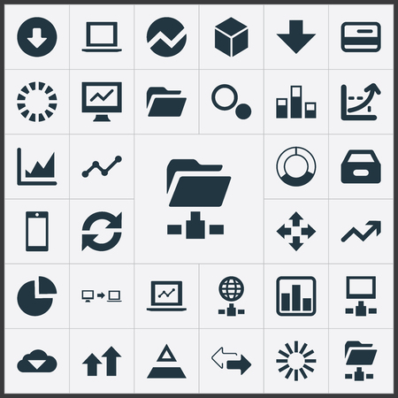 Vector Illustration Set Of Simple Information Icons. Elements Triangle, Down Arrow, Telephone And Other Synonyms Screen, File And Network.
