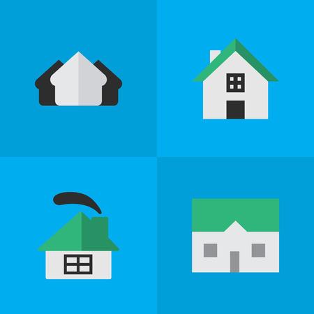 単純な不動産アイコンのベクター イラスト セット。要素プロパティ、家、住居、その他のシノニム建物、プロパティおよび家。