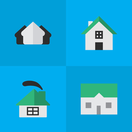 Vector Illustration Set Of Simple Estate Icons. Elements Property, House, Dwelling And Other Synonyms Building, Property And House.