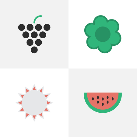 Vector Illustration Set Of Simple Gardening Icons. Elements Melon, Sunny, Wine And Other Synonyms Sun, Watermelon And Hate.