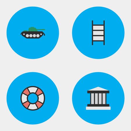 Illustrazione vettoriale Set of Simple Crime Icons. Elementi griglia, militari, scale e altri sinonimi Prigione, tribunale e salvavita. Archivio Fotografico - 84710587