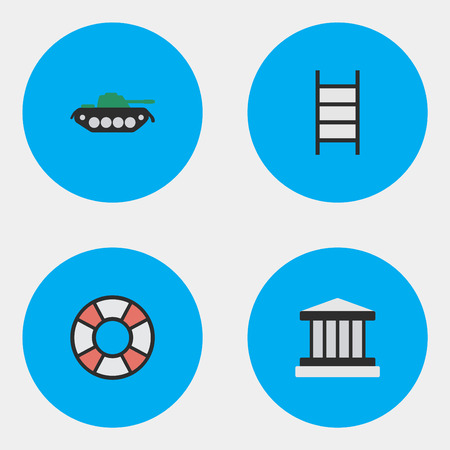 Vector Illustration Set Of Simple Crime Icons. Elements Grille, Military, Stairs And Other Synonyms Jail, Court And Lifesaver.