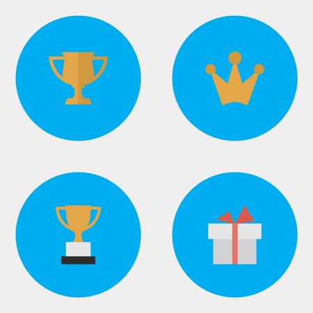 Vector Illustration Set Of Simple Achievement Icons. Elements Corona, Present, Goblet And Other Synonyms Cub, Gift And Crown.