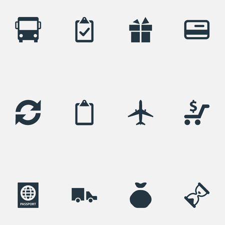 Vector Illustration Set Of Simple Surrender Icons. Elements Checklist, Repeatability, Autobus And Other Synonyms Bus, Road And Autobus. Illusztráció