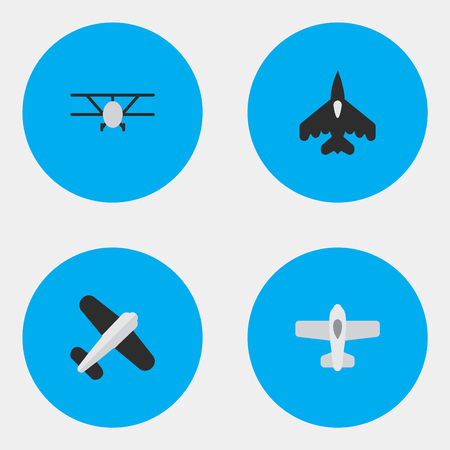 Vector Illustration Set Of Simple Aircraft Icons. Elements Aviation, Airplane, Flying Vehicle And Other Synonyms Aviation, Flying And Aircraft. Иллюстрация