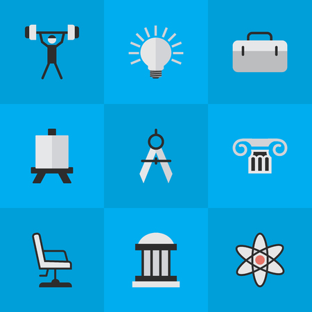 Vector Illustration Set Of Simple Education Icons. Elements Armchair, Measurement Dividers, Easel And Other Synonyms Easel, Board And Column. Ilustração