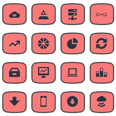 簡易解析アイコンのベクター イラスト セット。要素グラフ、ダウンロード、円形の図表および他の同義語を読み込み、統計と矢印。  イラスト・ベクター素材