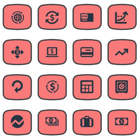 Ilustração conjunto de ícones de negócios simples. Elementos Aumentar Gráfico, Progresso, Bucks e outros sinônimos Terminal, Crescimento e Analytics. Foto de archivo - 84945076