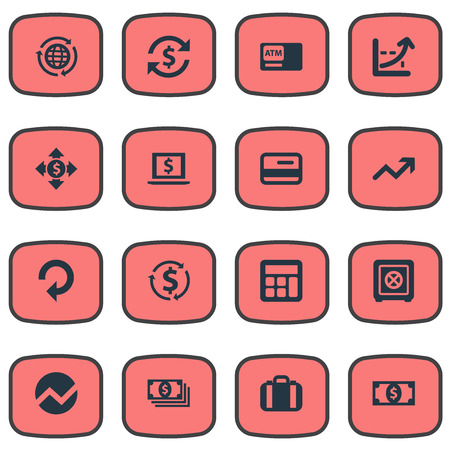 Illustration Set Of Simple business Icons. Elements Increase Graph, Progress, Bucks And Other Synonyms Terminal, Growth And Analytics.