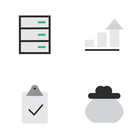 Illustration Set Of Simple Business Icons. Elements Done, Growing, And Other Synonyms Drawer, Check And Diagram.