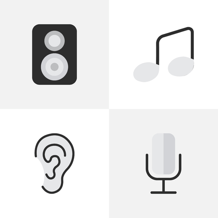 Illustration Set Of Simple Music Icons. Elements Record, Listen, Music Sign And Other Synonyms Mic, Music And Ear. Illustration