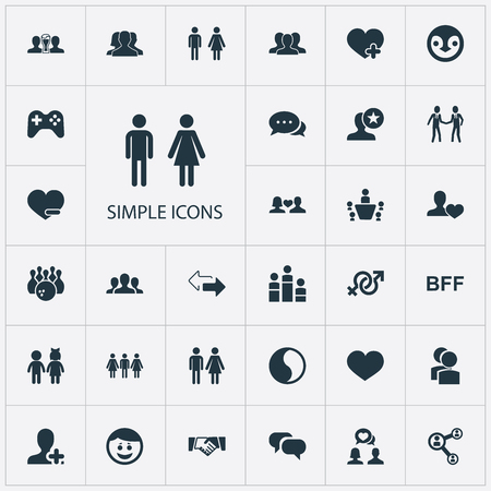 Illustration Set Of Simple Friends Icons. Elements Heart, Network, Symbol And Other Synonyms Accord, Enamored And Friend. Illustration