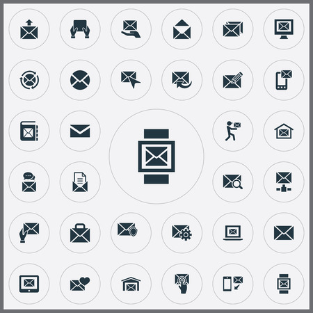 Illustration Set Of Simple Communication Icons. Elements Sent, Correspondence, Renewed And Other Synonyms Flow, Web And Correspondence. Çizim