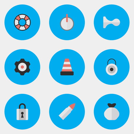 Illustration Set Of Simple Crime Icons. Elements Safe, Cogwheel, Lifesaver And Other Synonyms Lifebuoy, lock, gear wheel And Lifesaver.