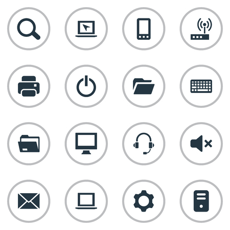 silent: Illustration Set Of Simple Computer Icons. Elements Keypad, Cursor, Monitor And Other Synonyms Keypad, Microphone And Printer. Illustration