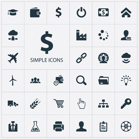 Illustration Set Of Simple Trade Icons. Elements Purse, Client, Firm And Other Synonyms Wireless, Database And Purse. Иллюстрация