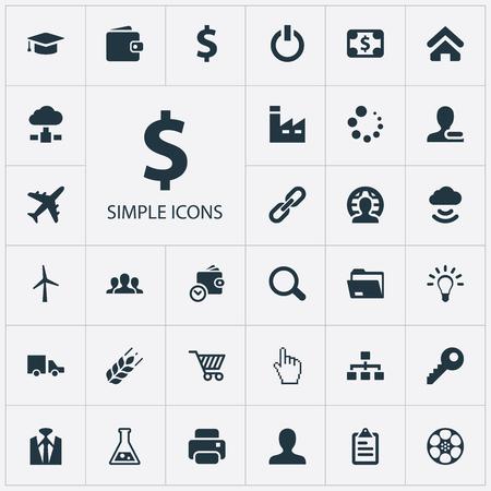 Ilustración Conjunto de iconos de comercio simple. Elementos monedero, cliente, firma y otros sinónimos inalámbrico, base de datos y monedero. Foto de archivo - 84945186