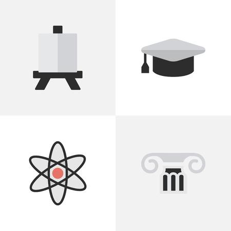 Illustration Set Of Simple Education Icons. Elements Chevalet, chapeau académique, molécule et autres synonymes Molécule, pilier et atome. Banque d'images - 84945187