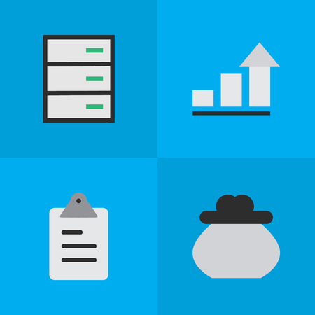Illustration Set Of Simple Job Icons. Elements Growing, Drawer, Clipboard And Other Synonyms Drawer, Growing And Increase. Illustration